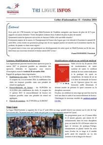 Tri Ligue Infos   Octobre 2016   Page 1