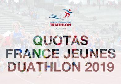 Quotas Championnat de France Jeunes de Duathlon 2019 Noyon