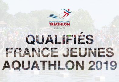 Liste des qualifiés Championnat de France Aquathlon Jeunes 2019