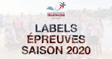 Mise à jour calendrier : labels régionaux et sélectifs 2020