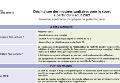 Pass sanitaire & sport : les nouvelles mesures à partir du 9 août